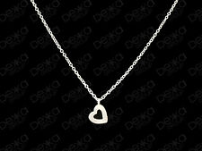 Genuine 925 Sterling Silver Heart Necklace Small Mini Charm Pendant Open Love