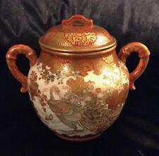 Kaga Meiji~Porcelain~Antique Japanese Kutani Sugar Pot~Gold Gilt Peacock~19thc