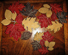 Autumn Fallen Leaves Applique Collage Thanksgiving Fall decor 3 PC Doily Set