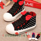 Fashion Kids Toddlers Girls Bow-knot Polka Dot Lace Up High Top Sneaker Shoes