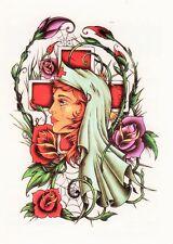 Temporary Tattoo, Einmal Tattoo, Traditional BTT2,7-10, Krankenschwester im Netz