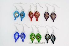 wholesale lots 6pair Fashion Jewelry Charm Leaf murano glass bead earrings FREE