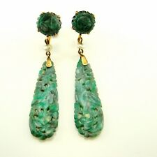 R1208 Antique Jade Earrings 14K Gold Drop Dangle Jadeite Victorian Edwardian