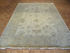 8 x 10 HAND KNOTTED IVORY/GOLD FINE TURKISH OUSHAK ORIENTAL RUG G1450