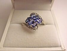 Gorgeous 1.45 ct Natural Tanzanite&Diamond 10K Solid White Gold Ring Size 9
