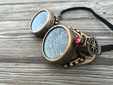 Steampunk Goggles Miner Style with Red Flashlight