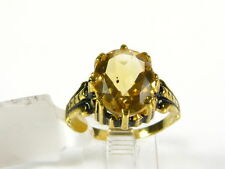 Victorian 14k Yellow Gold Sterling Silver 4ct Natural Oval Citrine Ring I054C