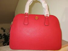 Tory Burch $525 Leather Robinson Double Zip Dome Satchel Purse Bag LARGE Size