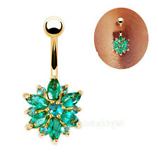 Sexy Gold Plated Bar 14G Turquoise Rhinestone Body Piercing Belly Navel Ring
