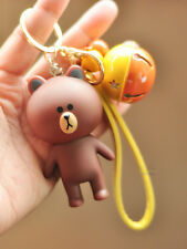Cute LINE Friends Character Brown Key Chain (key ring) c/w Small Bell Pendant