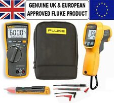 Fluke 113 Multimeter & 62 MAX-PLUS IR Thermal Reader PLUS Voltstick & Carry Case