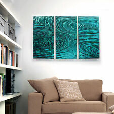 Modern Abstract Painting Metal Wall Art Sculpture Teal Liquid Ambiance Jon Allen