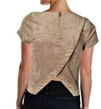 SAM EDELMAN $119 Tan Suede Washable Crossover Casual TOP SHIRT BLOUSE SZ M NWT