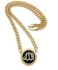 "ICED OUT ISLAMIC SYMBOL ALLAH PENDANT 10mm/30"" CUBAN LINK CHAIN NECKLACE XC250"