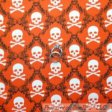 BonEful Fabric Cotton Quilt Orange B&W Boy Skeleton SKULL Head Cross SALE SCRAP