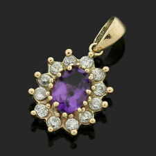 9ct Gold Amethyst Oval Pendant surrounded by cubic zirconias - BOXED VINTAGE