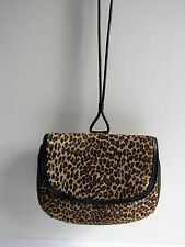 Stylish HALSTON Pony Hair Leopard Print & Black Leather Small Shoulder Bag EUC