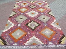 """Antique Anatolia Turkish Wool Nomads Kilim 57"""" x 110,6"""" Area Rug,Kelim,Carpet"""
