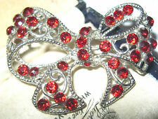 Vintage 1950's Ruby RED Crystal Rhinestone BOW Costume Jewellery PIN BROOCH