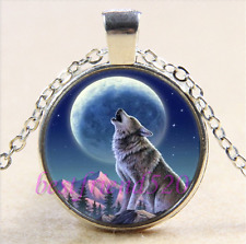 Wolf With Moon Photo Cabochon Glass Tibet Silver Chain Pendant Necklace#Y8J
