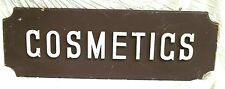 VINTAGE 1950's DOUBLE SIDED WOODEN RETRO COSMETICS SIGN WITH RAISED LETTERS