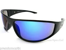 DIRTY DOG Men's MONKEY Wrap Style Sunglasses Shiny Black /Blue MIRROR 52695