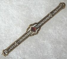Victorian 10k Yellow Gold Filigree Bar Pin with Red Ruby
