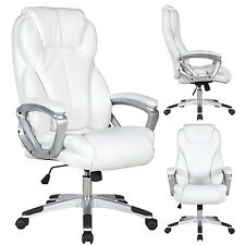 Executive Manger PU Leather Office Chair WHITE High Back Desk Conference Room