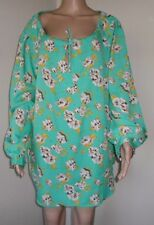 WOMAN WITHIN MARINE GREEN FLORAL PRINT TUNIC TOP PLUS SIZE 1X