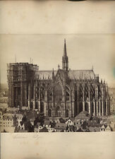ANTIQUE ALBUMEN COLOGNE CATHEDRAL UNDER RESTORATION WITH SCAFFOLDING. GERMANY.