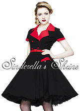 New HELL BUNNY Black & Red 50's LOVE DAY Rock & Roll Dress Size S UK 8-10
