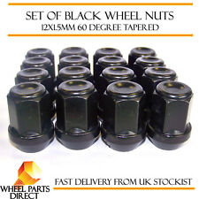Alloy Wheel Nuts Black (16) 12x1.5 Bolts for Kia Carens [Mk2] 02-06