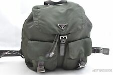 Authentic PRADA Nylon Backpack Green With Control Card 29748