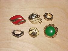 Lot of 6 Vintage Clip On Single Earrings Goldtone  Red Green Various Shapes