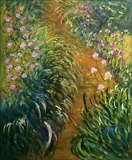 Claude Monet Path through the Irises Repro, Hand Painted Oil Painting 20x24in