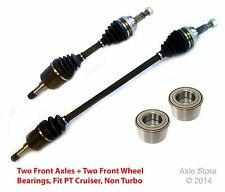2 New DTA CV Axles + 2 Front Bearings With Warranty Fit PT Cruiser Non Turbo