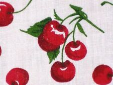 RETRO RED CHERRY FRUIT WHITE FASHION PRINT QUILT SEW CRAFT DECOR FABRIC BTHY#
