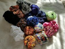 yarn lot 15 skin's mixed mohair scarf fuzzy  cotton multi color new open