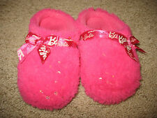 Girls' size small 11 / 12 Barbie Slippers Fuzzy Pink