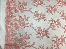 Sensation Dusty Rose Flowers Embroider And Corded On a Polkadot Mesh Lace-yard