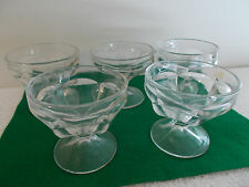 5  Vintage  6 Sided Footed Glass Ice cream Sherbert Desert Dishes