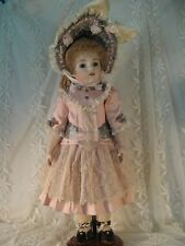 """SILK DRESS FOR 24"""" FRENCH DOLL VICTORIAN STYLE LIGHT DUSTY PINK & GRAY"""