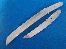 "12.1/4""& 8.1/4""Damascus steel CUSTOM made Japanese tanto 2PCS knife blade A649"