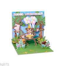 3D Birthday Monkeys Pop Up Card Greeting Card by Up With Paper Treasures # PS864