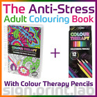 COLOUR THERAPY ANTI-STRESS ADULT COLOURING BOOK 160Pgs WITH 12 COLOURING PENCILS