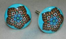 NWT DECORATIVE VINTAGE STYLE BLUE RED FLORAL CERAMIC DRAWER CABINET DOOR KNOB