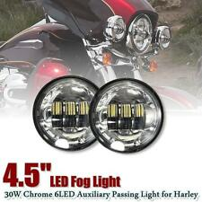 """Pair 4-1/2'' 4.5"""" Chrome LED Fog Daymaker Auxiliary Passing Light For Harley"""