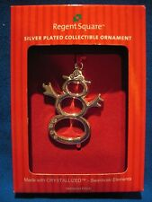 NEW Silver Plate Swarovski Snowman  Ornament with Red Ribbon Hanger