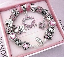 Authentic Pandora Sterling Silver Bracelet with Pink Love European Charms