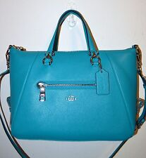 NWT COACH Turquoise Pebble Leather Primrose Satchel Purse Bag 37934